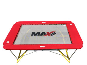 What is the best trampoline? A MaxAir of course. The MaxAir 10x12 foot trampoline with red border padding and stability stands.