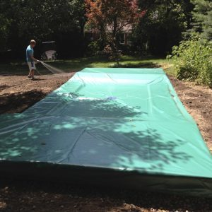 A weather resistant trampoline cover
